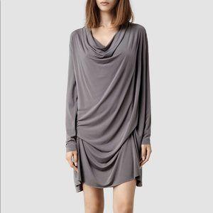 All Saints Amei Drape Front Dress